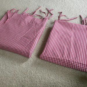 Two gingham window panels / curtains -- 84 in tall